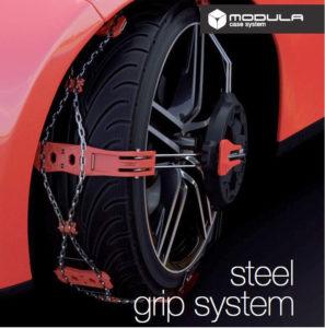 Catene Neve Steel Grip System Modula Montaggio Frontale per auto non catenabili
