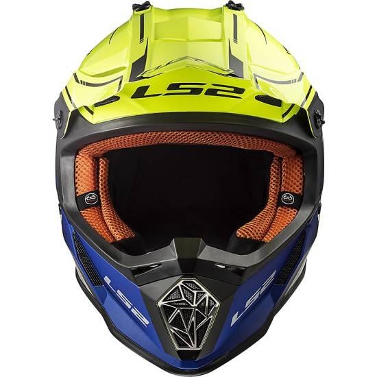 Casco Cross LS2 mx437 fast core blu giallo