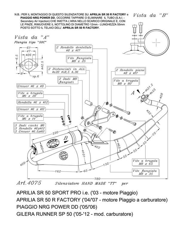 Auspuff Leovince TT für Piaggio Sfera RST Aprilia SR 50 R Runner NRG SP Zip TPH